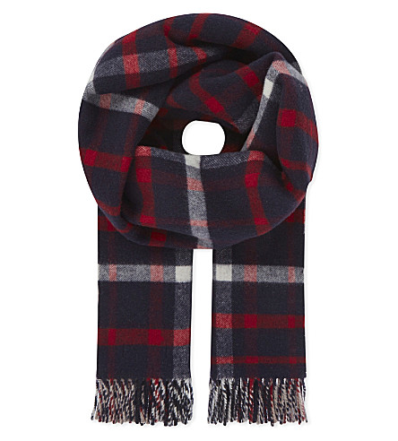 BURBERRY Oversized check wool-cashmere duffle scarf (Navy