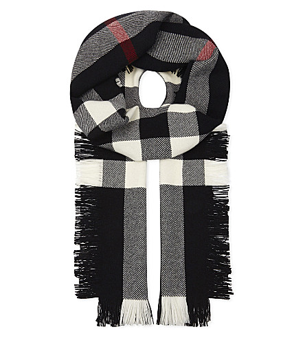 BURBERRY House check fringed wool scarf (Black