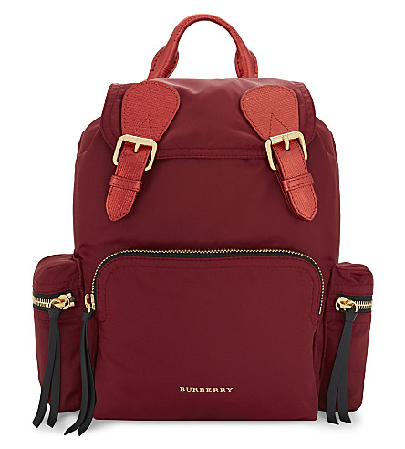 BURBERRY Medium nylon backpack (Crimson+red