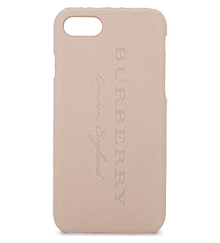 BURBERRY Rufus grained leather iPhone 7 case (Ash+rose
