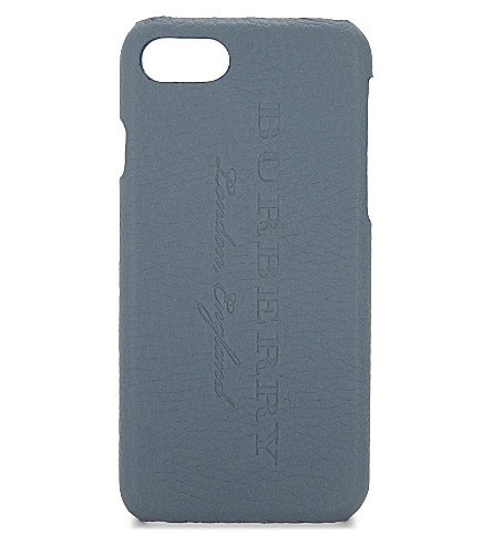 BURBERRY Rufus grained leather iPhone 7 case (Teal+blue