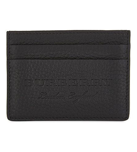 BURBERRY Sandon grained leather card holder (Black