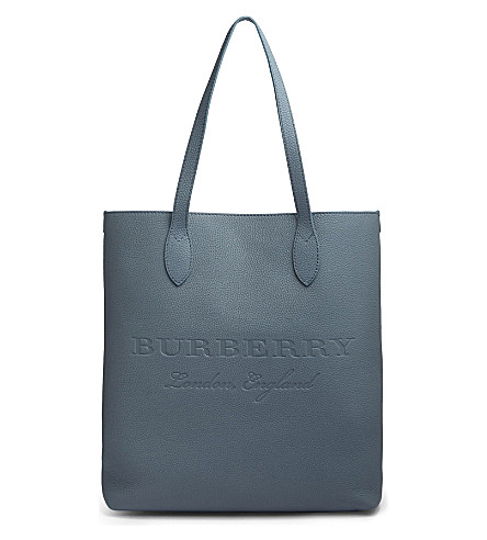 BURBERRY Embossed leather tote bag (Slate+green