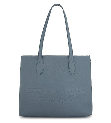 BURBERRY Remington East/West grained leather tote (Dusty+blue