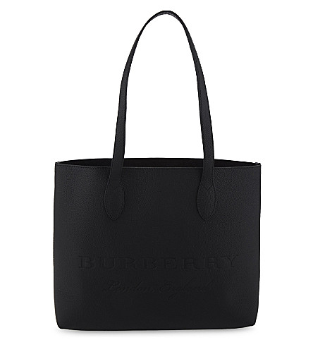BURBERRY Medium leather tote (Black