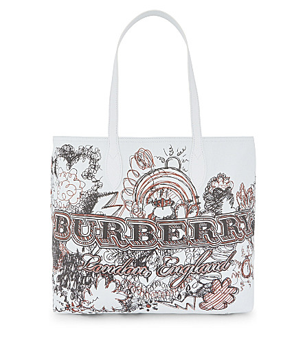 BURBERRY Sketchbook leather tote (White