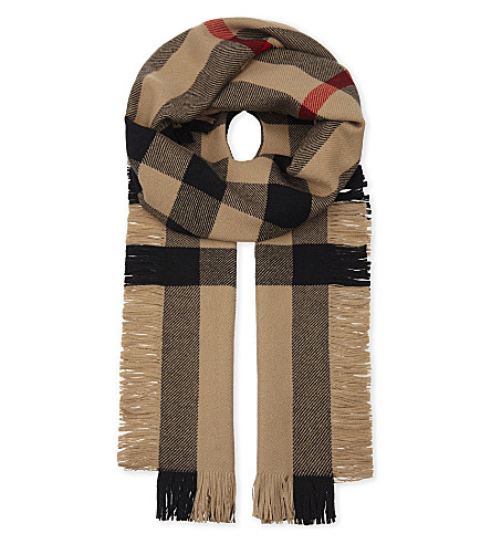 BURBERRY House check fringed wool scarf (Camel