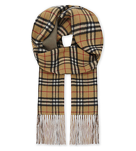 BURBERRY Reversible Vintage check cashmere scarf (Chalk+green