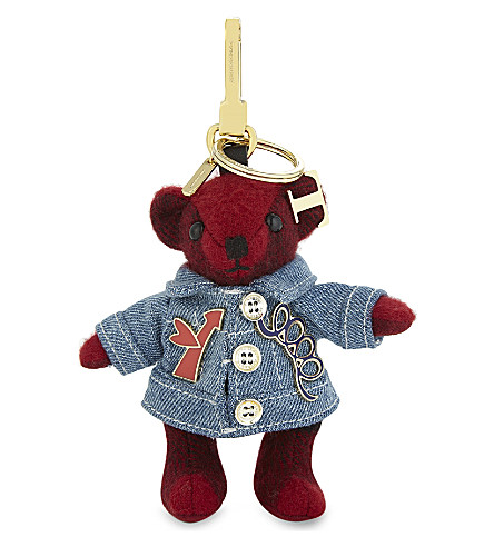 BURBERRY Denim Thomas Bear cashmere keyring (Parade+red