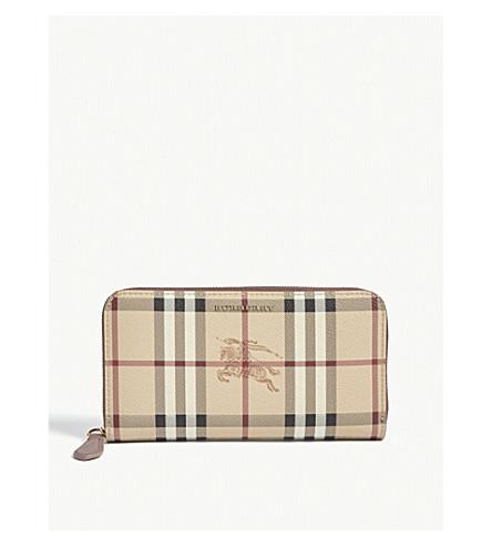 BURBERRY Haymarket check print leather zip-around wallet (Light+elderberry