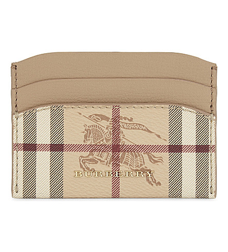 BURBERRY Izzy Haymarket Check leather card holder (Mid+camel