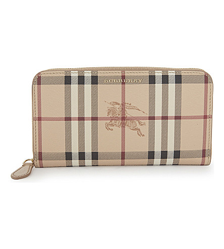 BURBERRY Elmore check wallet (Mid+camel