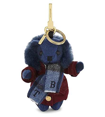 BURBERRY Thomas Bear cashmere keyring (Cadet+blue