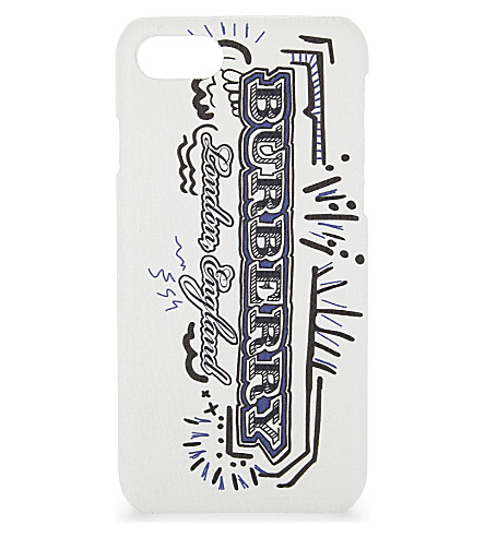 BURBERRY Rufus sketchbook leather iPhone 7 case (White