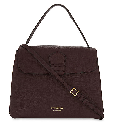 BURBERRY Camberley medium grained leather shoulder bag (Mahogany+red
