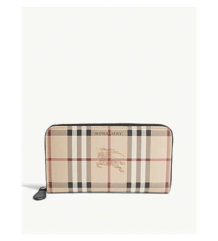 BURBERRY Elmore Horseferry check leather wallet (Black