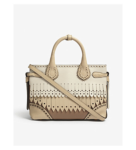 BURBERRY Banner small brogue detail leather tote (Chino