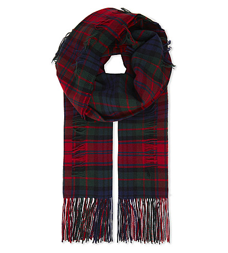 BURBERRY Tartan wool and cashmere scarf (Bright+red