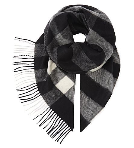 BURBERRY House check cashmere bandana (Black