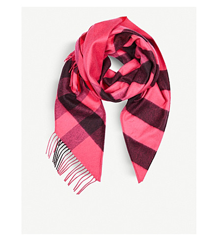 BURBERRY Check cashmere bandana scarf (Bright+rose+pink