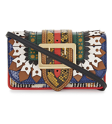 BURBERRY Buckle ruffle leather patchwork shoulder bag (Multi