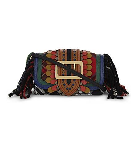 BURBERRY Buckle patchwork leather shoulder bag (Multi