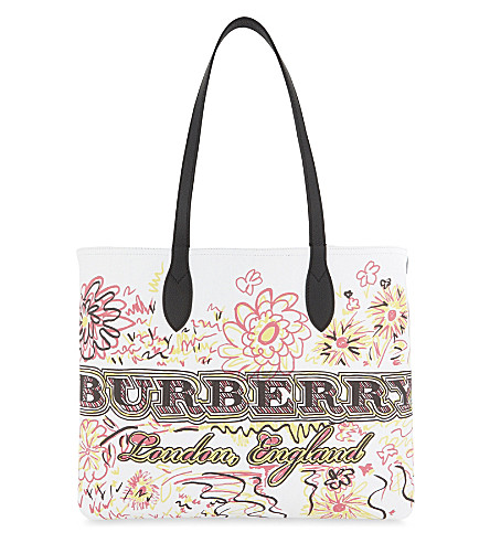 BURBERRY Doodle flowers reversible canvas tote (White+pink+yellow