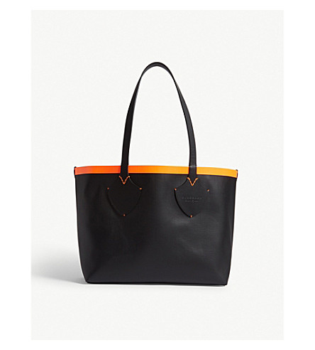 BURBERRY Reversible medium canvas and leather tote (Orange