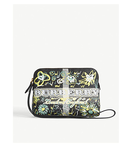 BURBERRY Doodle print coated-canvas pouch (Black+blue+green