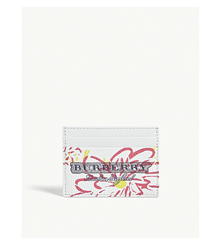 BURBERRY Doodle Spring leather card holder (White+pink+yellow