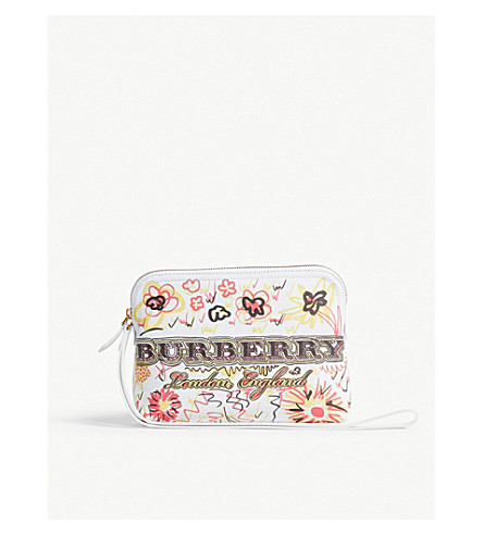 BURBERRY Doodle Spring coated canvas zipped pouch (White+yellow+pink