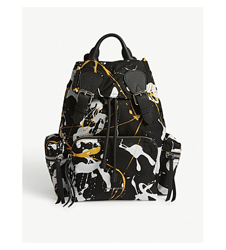 BURBERRY Splash print medium backpack (Black+yellow+white