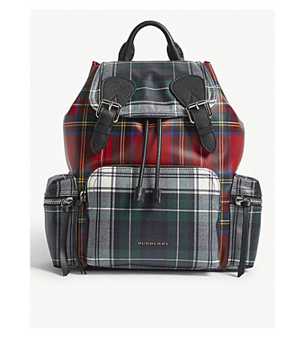 BURBERRY Patchwork tartan print medium backpack (Military+red