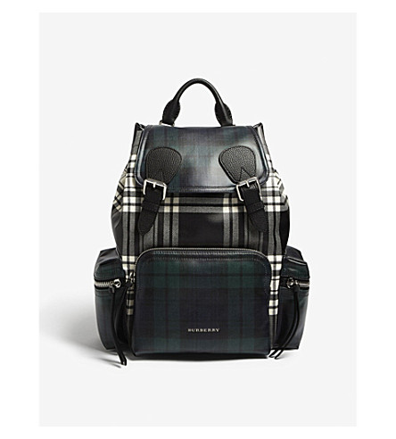 BURBERRY Prorsum tartan medium leather backpack (Black+white