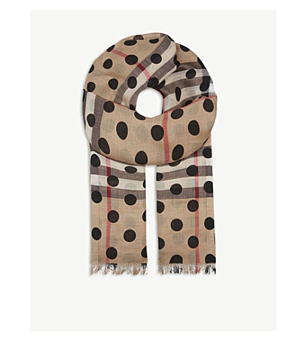 BURBERRY House check wool and silk-blend scarf (Black