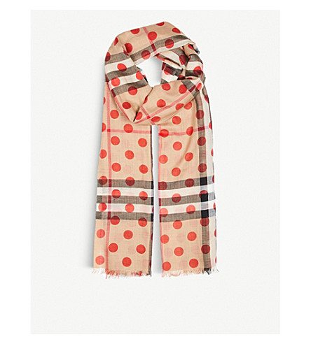 BURBERRY Dot and giant check wool and silk-blend scarf (Military+red