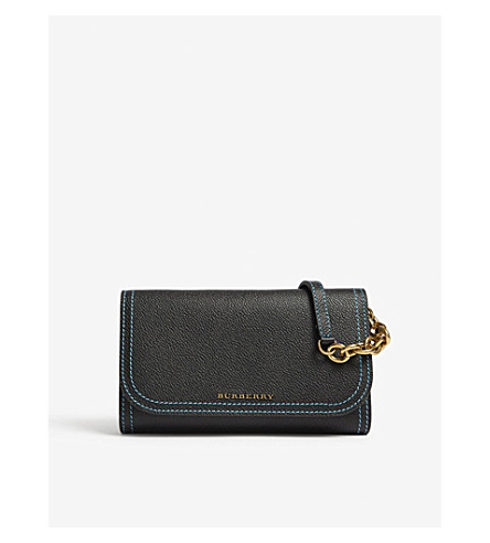 BURBERRY Horsham leather wallet on a chain (Black