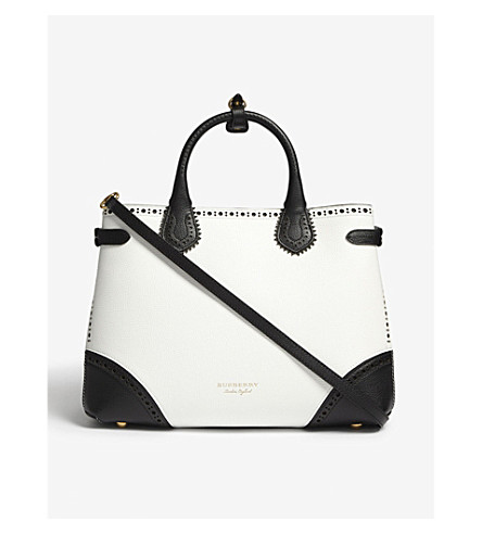 BURBERRY Banner medium brogue detail leather tote (White+black