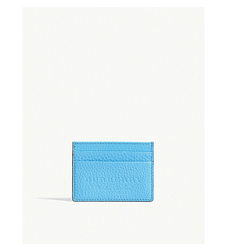 BURBERRY Sandon embossed leather card holder (Neon+blue