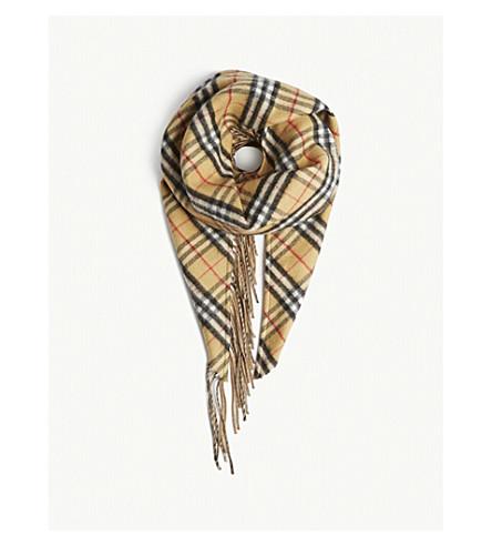 BURBERRY Vintage Check reversible cashmere bandana scarf (Sandstone