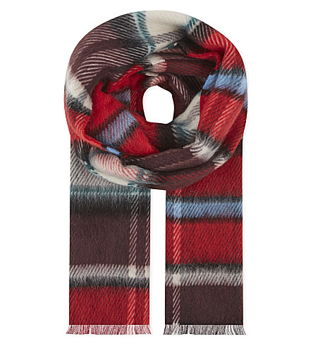BURBERRY Large checked scarf (Bright+red