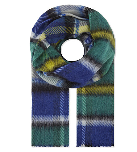 BURBERRY Large checked scarf (Cobalt+blue