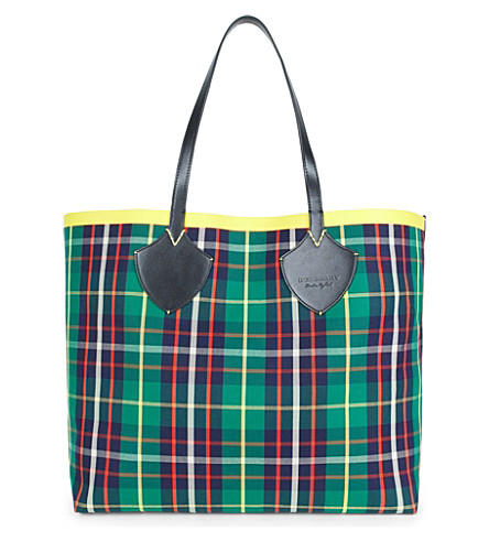 BURBERRY Tartan cotton-canvas extra-large reversible tote (For+green/navy