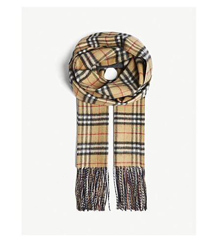 BURBERRY Vintage Check reversible cashmere scarf (Slate+blue