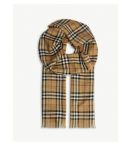 BURBERRY Vintage check silk-wool gauze scarf (Antique+chk
