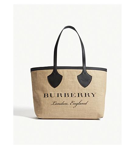 piel tote Negro con y logo BURBERRY Bolso 5wnqCX5A