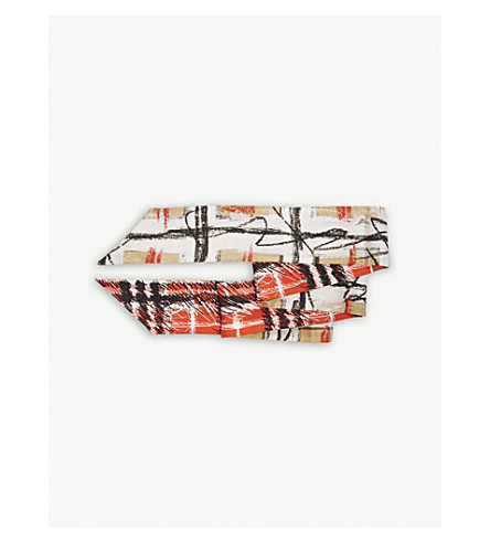 BURBERRY Scribble check silk skinny scarf (Bright+red