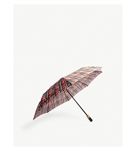 BURBERRY Distorted check folding umbrella (Red