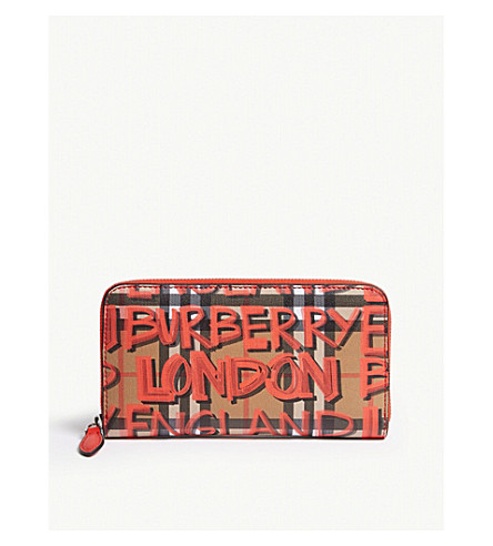 Graffiti vintage check leather wallet