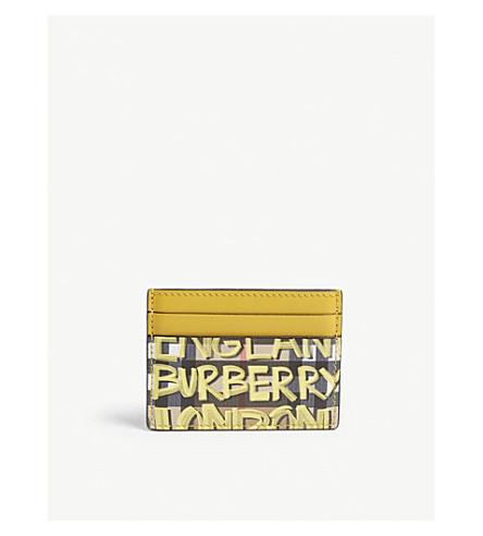 Graffiti vintage check leather card holder